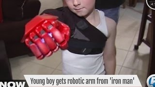 Iron Man's Robert Downey Jr. gives young boy prosthetic biotic arm