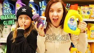 24 HRS OVERNIGHT!! MAKING SLIME IN THE DOLLAR STORE!