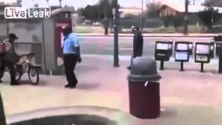 Man sucker punches old lady , instant karma