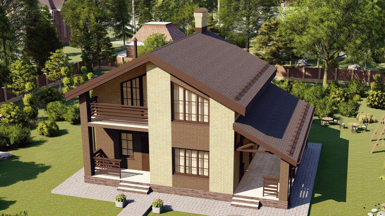 Проект дома с мансардой из газобетона 10х9 м 125 м2