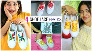 4 DIY SHOE LACE HACKS - Creative Patterns To Tie Your Shoe Laces  | #Teenagers #Anaysa #DIYQueen