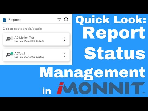 how to disable and re-enable a report in iMonnit