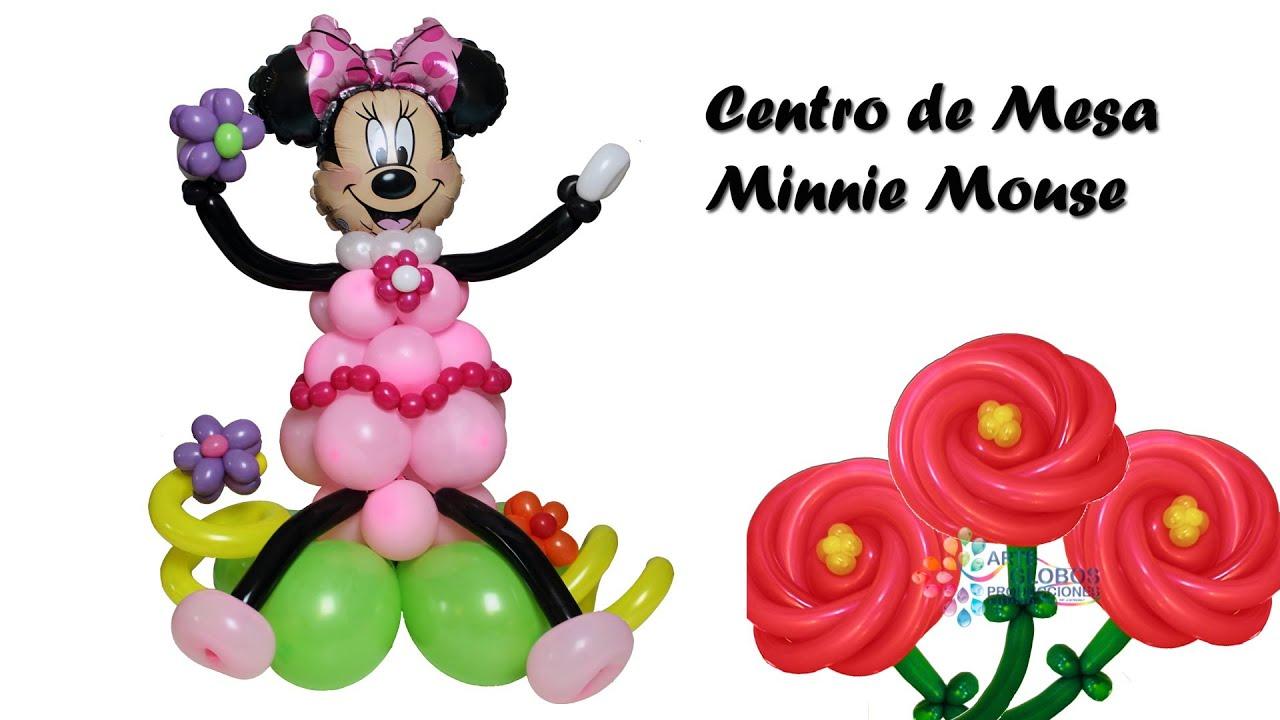 Centro de Mesa Minnie Mouse en Globos. Curso de Globos