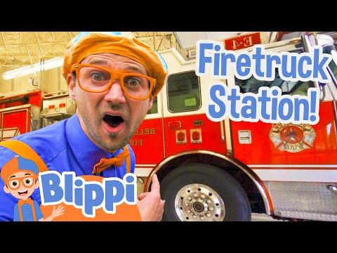 Blippi Explores Fire Trucks for Children | Blippi Fire Truck Song