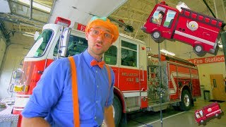 Blippi Explores Fire Trucks for Children | Blippi Fire Truck Song