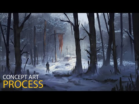 digital painting concept art of a winter forest by jordan