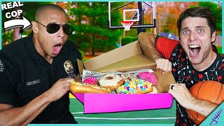 A REAL POLICE OFFICER Challenged ME to Trick Shot H.O.R.S.E. *Winner Gets Donuts 🍩!*