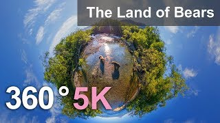 360 video, The Land of Bears, Kamchatka, Russia. 5K aerial video
