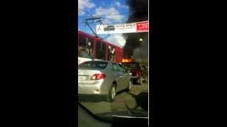 В центре Тулы сгорел автобус.avi