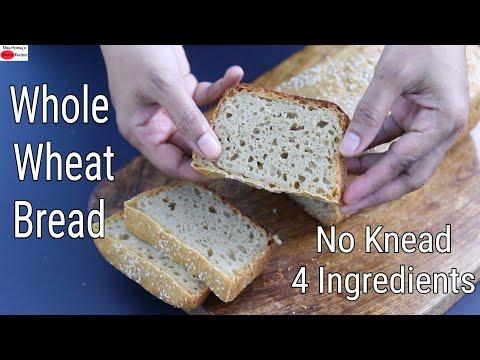 Whole Wheat Bread – No Knead – 4 Ingredients – Atta Bread – No Oil/No Sugar/No Maida |Skinny Recipes
