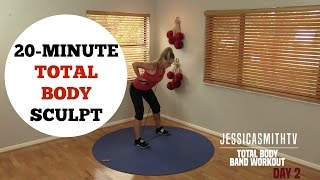 20 Minute Total Body Sculpting Resistance Band Workout for All Levels of Exercise by jessicasmithtv