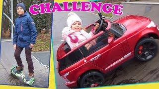 ЧЕЛЛЕНДЖ  машина vs гироскутер Настя и Саша катаются на горках в ПАРКЕ CHALLENGE Для детей