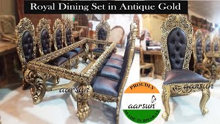 #135 Antique Gold 10 Seater Dining Set 10x4 Feet Table Size Royal Furniture @Aarsun - Art Of India