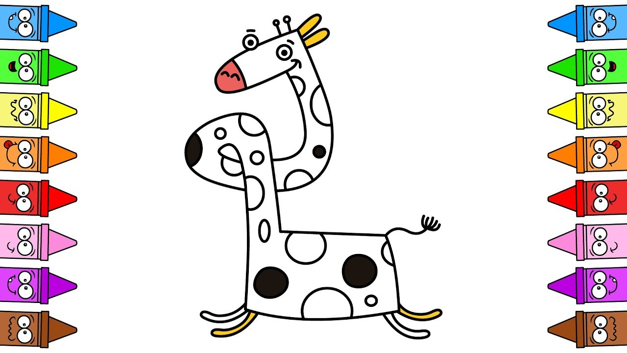 Watch Drawing Giraffe | Cartoon Giraffe Drawing | Giraffe Coloring Pages