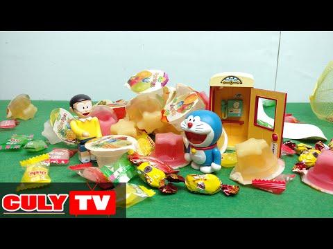 Doremon đồ chơi vui #5 - cơn mưa kẹo tủ điện thoại yêu cầu - doraemon toy for kid