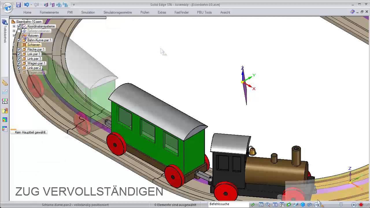 Vorschaubild: Solid Edge: Animierte Bewegung auf einer Rundstrecke