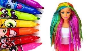 Coloring Barbie's Hair with Markers ️🌈 DIY Barbie Rainbow Hair Color Experiment and Washing Out