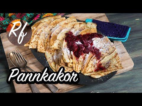 Goda pannkakor med pannkakssmet av fyra ägg, vetemjöl och mjölk. Gott med hallonsylt, jordgubbssylt, blåbärssylt eller annan sylt samt vispad grädde. Andra tips är strösocker, sirap, lönnsirap, nutella, chokladsås osv.>