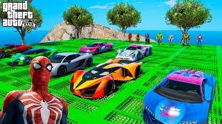 Сhallenge CARS & Jet Ski SpiderMan Hulk Superheroes GTA V MODS !Челендж Супергероев на Гидроциклах !