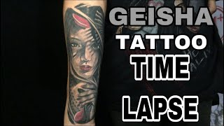GEISHA TATTOO TIMELAPSE PART II