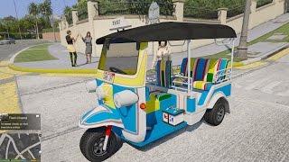 GTA 5 - Mod xe 3 bánh (Tuk Tuk) chở Misthy khám phá rừng hoang