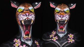 Old School Tiger Tattoo Makeup/Body Paint Tutorial