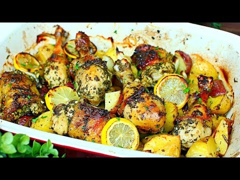 Lemon Garlic Herb Chicken and Potatoes Recipe - One Pan Roasted Chicken and Potatoes