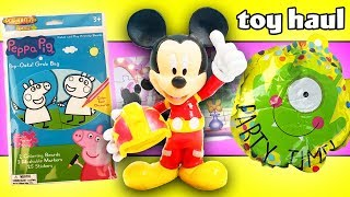 Toy Haul Surprise Party! Featuring Mickey Mouse, Minnie Mouse, Peppa Pig, Suzy Sheep, & Daisy Duck!