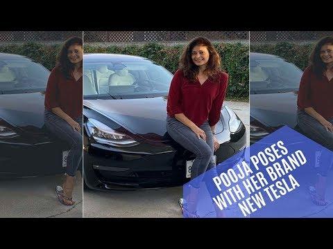 Pooja Batra poses with her brand new Tesla Model 3   SpotboyE