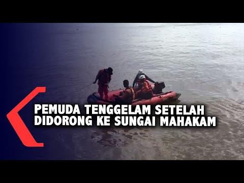 pemuda tenggelam setelah didorong ke sungai mahakam