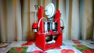 Двухцилиндровый двигатель Стирлинга с генератором