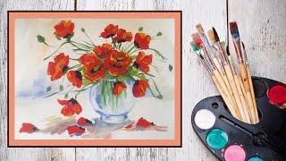 Смотреть онлайн Как нарисовать вазу с маками гуашью
