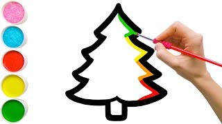 Magic Christmas Tree & Ornaments Drawing, Coloring for Kids Toddlers #47