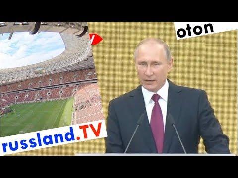 Putin zur Fußball-WM im Stadion auf deutsch [Video]