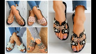Best Women Fashion Sandals Beautiful Shoes Most Attractive Flat Sandals New Designs Online=FSBS