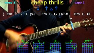 cheap thrills sia guitar chords
