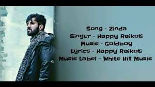 ZINDA Full Song With Lyrics Happy Raikoti   - YouTube