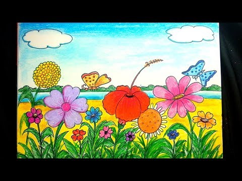How To Draw A Flower Garden Step By Step Easy Flowers Healthy