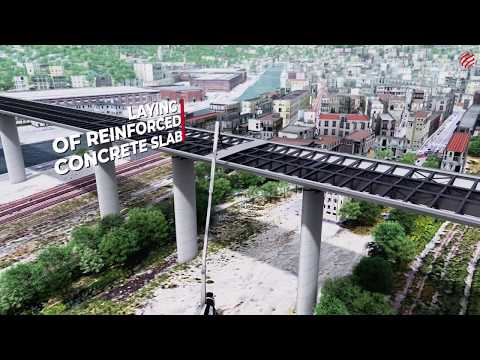 Animated reconstruction of Genoa's Polcevera viaduct