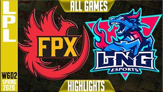 FPX vs LNG Highlights ALL GAMES | LPL Spring 2020 W6D2 | FunPlus Phoenix vs LNG Esports