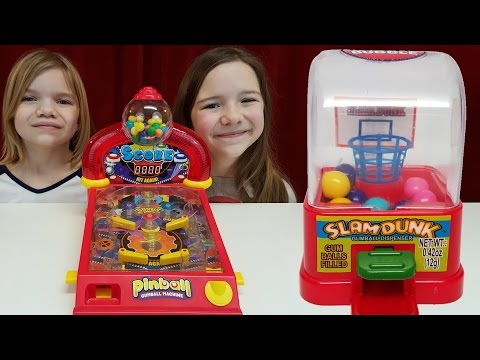 Gum games challenge!  Pinball, Skee Ball, Basketball gumball machines! | Time For Toys | Babyteeth4