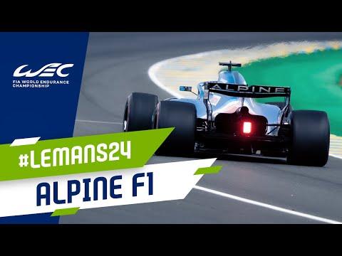 アルピーヌF1をデモンストレーション走行させるフェルナンド・アロンソ。ル・マン24時間レース 動画