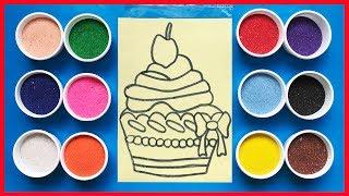 Đồ chơi trẻ em TÔ MÀU TRANH CÁT BÁNH CUPCAKE - Learn color, Sand Painting (Chim Xinh)