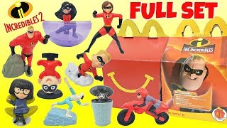 Disney Pixar's 2018 THE INCREDIBLES 2 McDonald's Happy Meal Toys Full Set