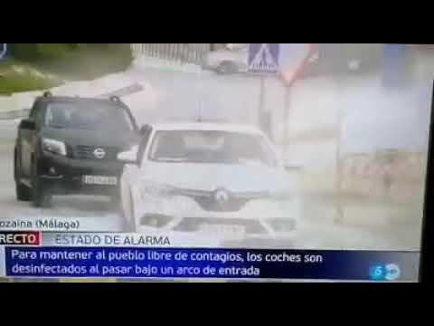 Alozaina en Telecinco. Noticia arco de desinfección