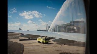 QATAR AIRWAYS Inaugural Flight Doha – Canberra - Water Cannon Salute on 12 February 2018 | Kholo.pk