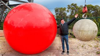 Atlas Stone Vs. World's LARGEST Exercise Ball From 45m!
