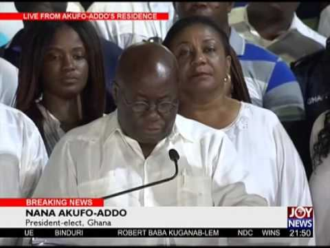 Presidential-elect Nana Akufo Addo addresses Ghanaians