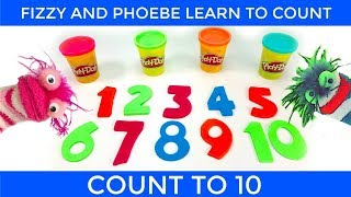 Fizzy and Phoebe Count to 10 with Play Doh Numbers