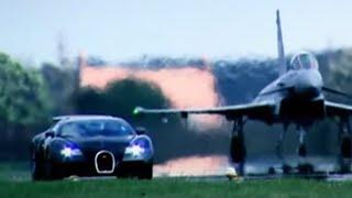 Bugatti Veyron Vs Euro Fighter Typhoon: Drag Race (HQ) | Top Gear | BBC